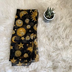 ⭐️Vintage ⭐️ sun moon and star print long scarf